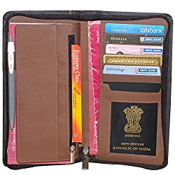 Style98 Pure Leather Black & Brown Men Long Travel Wallet with Card Holder & Coin Pocket