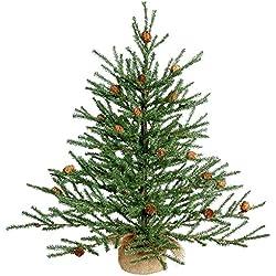 """Vickerman Unlit Carmel Pine Artificial Christmas Tree Artificial Pine Cones Comes in Burlap Base, 24"""""""