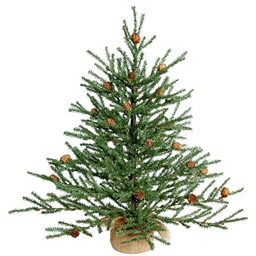 Vickerman Unlit Carmel Pine Artificial Christmas Tree Artificial Pine Cones Comes in Burlap Base, 24