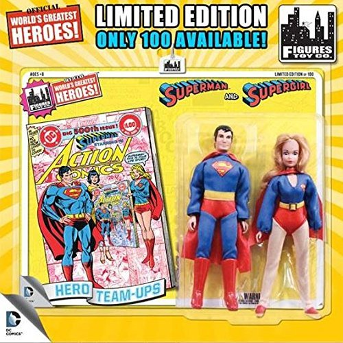 DC Superman World's Greatest Super Heroes Retro Two-Pack Series 1 Superman & Supergirl 8 Action Figure [Yellow Card] by DC World's Greatest Super Heroes