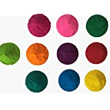 10 Colors x 50 grams - CraZeeColors(TM) Premium Holi Color Powder (Color: Pink, blue, green, red, yellow, purple, dark green, orange, true blue, dark orange, Tamaño: 50 grams)