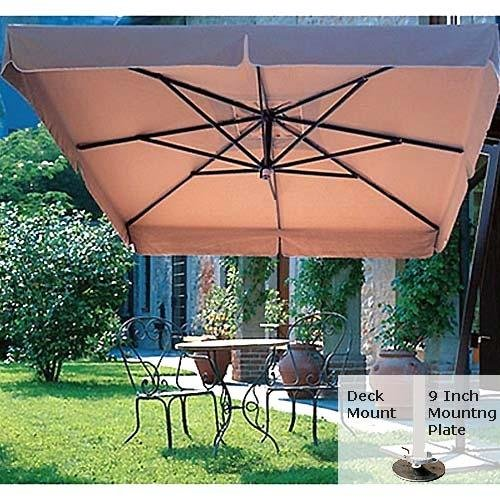 Patio Umbrella - FIM C09-V-DMT - 9.5 Foot Square Cantilever Umbrella - Valance Canopy - Deck Mount - Tuscan