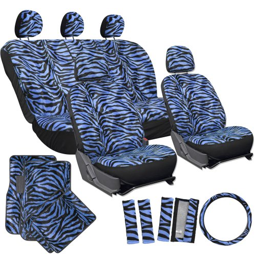 OxGord 21pc Set of Zebra Print Car Seat Covers w/Deluxe Velour Animal Carpet Floor Mats, Steering Wheel Cover & Shoulder Pads - Airbag Compatible - Front Low Back Buckets - 50/50 or 60/40 Rear Split Bench - Universal Fit for Cars, Truck, SUV, or Van, Blue (Blue Car Seat Covers For A Sedan compare prices)
