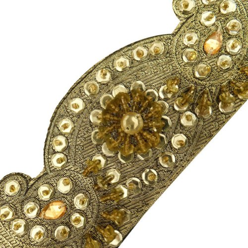 Light Gold Beaded Cut Work Style Trim Sequin Border Lace Sewing Craft 3 Yd