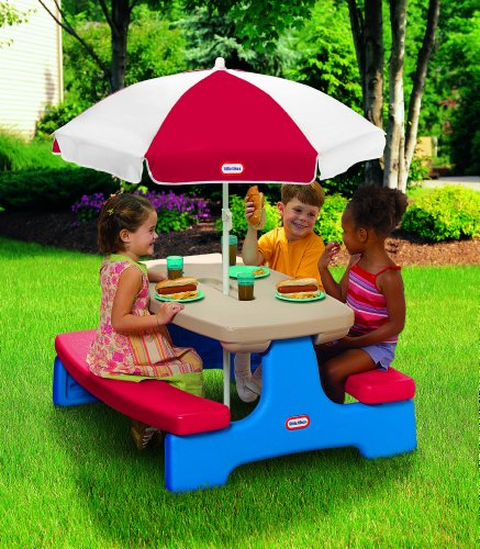 Little tikes easy store large picnic table with umbrella - Children s picnic table with umbrella ...