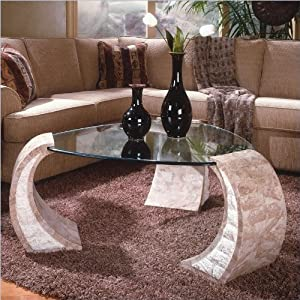 Magnussen Albany Shaped Glass Top Cocktail Table and End Table Set