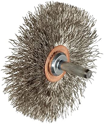"Weiler Narrow Face Wire Wheel Conflex Brush, Round Shank, Stainless Steel 302, Crimped Wire, 3"" Diameter, 0.014"" Wire Diameter, 1/4"" Shank, 1"" Bristle Length, 1/2"" Brush Face Width, 20000 rpm"