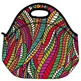 Snoogg Seamless Abstract Hand Drawn Waves Pattern Travel Outdoor Carry Lunch Bag Picnic Tote Box Container Zip Out Removable Carry Lunchbox Handle Tote Lunch Bag Food Bag For School Work Office