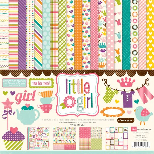 Echo Park Paper スクラップブッキングページキット 12インチ Little Girl Collection Kit LG10016
