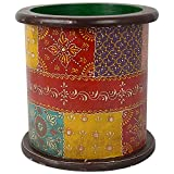Thar Handicrafts Bangalore Brass Decorative Planter Painted (Brass Yellow, 25.4x25.4x25.4 Cms )