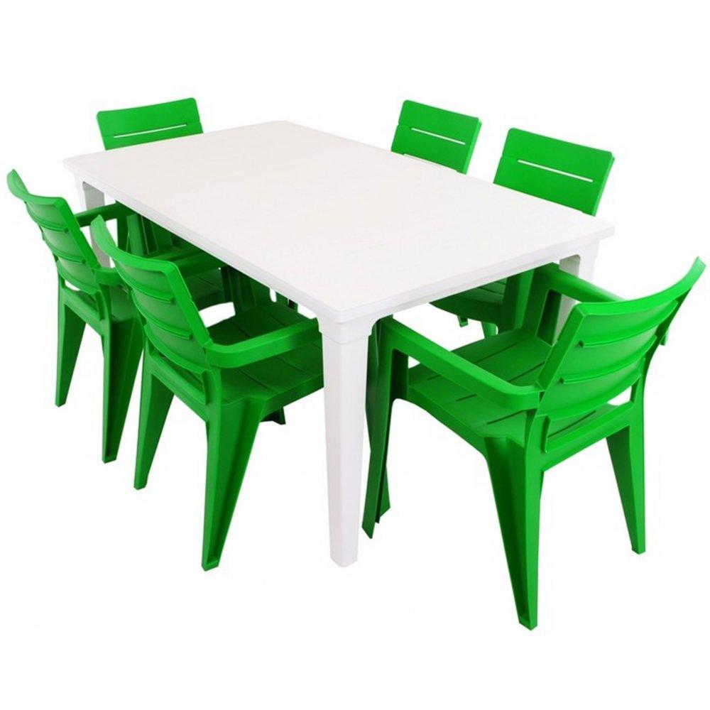 JUSThome Ibiza Gartenmöbel Sitzgruppe Gartengarnitur Set 6x Stuhl + Tisch Grün Weiß