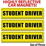 Dcs Deals Student Driver Magnets (Set of 3) - Reflective Vehicle Car Sign 12 X 3 X 0.1 Inches