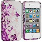 myLife Purple Vines and Butterflies Series (2 Piece Snap On) Hardshell Plates Case for the iPhone 4/4S (4G) 4th Generation Touch Phone (Clip Fitted Front and Back Solid Cover Case + Rubberized Tough Armor Skin)