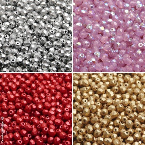 400 beads 4 colors Unique Set 413 Czech Fire-Polished Faceted Glass Beads Round 4 mm, 4FP069, 4FP070, 4FP074, 4FP085