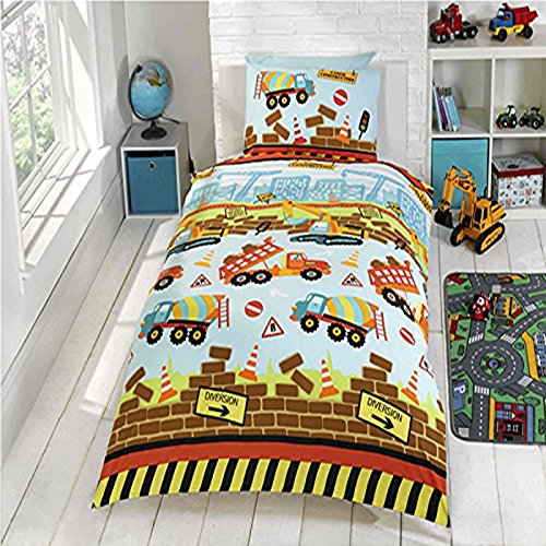 Under Construction Single/US Twin Duvet Cover and Pillowcase Set