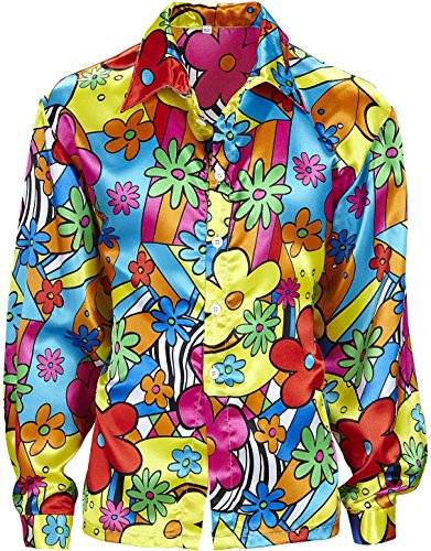 Flower Power Shirt Costume Large for 60s 70s Hippy Fancy