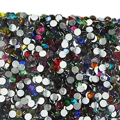 Best Buy! Wholesale 2000pcs Crystal Flatback Acrylic Rhinestones Nail Art Mixed