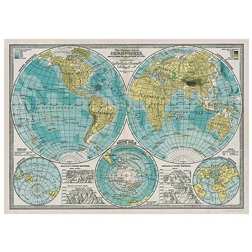 Cavallini Decorative Paper - Hemispheres Vintage Map 20