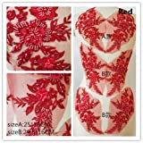 Hand Beaded Flower Sequence 3D Lace Applique Motif Sold by 3 Pairs Great for DIY Decorated Craft Sewing Costume Evening Bridal Top A6 (Red) (Color: Red)
