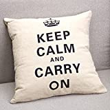 Come2buy - Cotton Linen Sofa Chair Seat Throw Pillow Case Cushion Cover Decorative Insert Not Inclued - Crown Keep Calm and Carry On