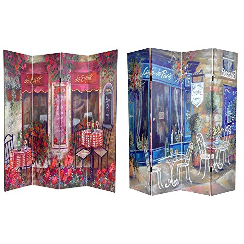 Oriental Furniture 6 ft. Tall Double Sided Parisian Cafe Canvas Room Divider
