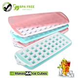 Ice Cube Trays 4 Packs, Eco-friendly Silicone Ice Trays with Lids Makes 144 pcs Ice Cubes, Easy-Release Ice Molds, BPA Free, Stackable, Portable (Color: Pink*2+Green*2, Tamaño: Pack of 4)