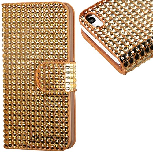 Mylife (Tm) Vibrant Gold {Crystals Design} Faux Leather (Card, Cash And Id Holder + Magnetic Closing) Slim Wallet For The Iphone 5C Smartphone By Apple (External Textured Synthetic Leather With Magnetic Clip + Internal Secure Snap In Hard Rubberized Bumpe
