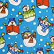 Blue 100% Cotton Fabric Jolly Snowmen in Snow Print (Per Metre)