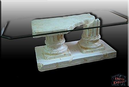 Griechisch Couchtisch Akropolis Antik Wohnzimmertisch Tisch Steinmöbel Glastisch
