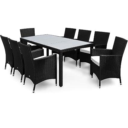 PolyRattan Sitzgruppe 8+1 Schwarz Gartenmöbel Lounge Sitzgarnitur Gartenset
