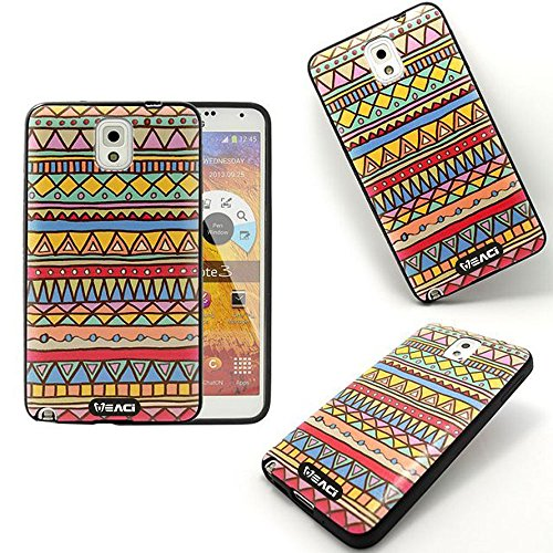 Meaci® Cellphone Case For Samsung Galaxy Note Iii 3 Soft Case Bumper Impact Body Black Tpu Material With Aztec Tribe Case(Aztec Ii)