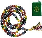CHAKRA MALA 108 PRAYER BEADS w/ Sanskrit Chakra Pouch