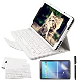 Galaxy Tab A 10.1 2016 Keyboard Case with Screen Protector & Stylus, REAL-EAGLE Slim Separable Fit PU Leather Case Cover Wireless Keyboard for Tab A 10.1 Inch 2016 SM-T580 T580N T585 T585N,White (Color: White, Tamaño: Samsung Galaxy Tab A 10.1 2016)