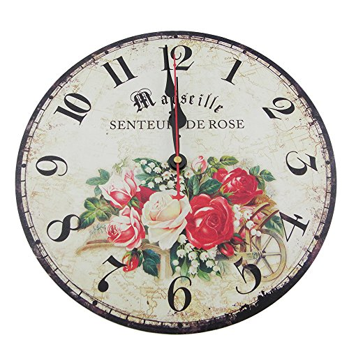 Usmile 12 Vintage Sweet Rose Wooden Wall Clocks Decorative wall clocks Retro wall clocks large wall clocks