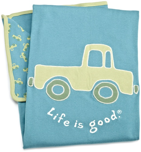 Life Is Good Unisex Infant/Toddler Blanket Elemental Truck, Turquoise Blue, One Size front-663301