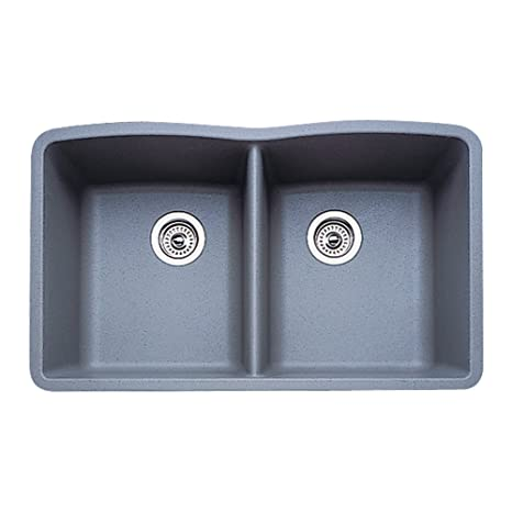 Blanco 511-703 Diamond Equal Double Bowl Kitchen Sink, Metallic Gray Finish