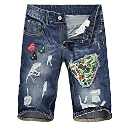 Juway Mens Spray Paint Ripped Denim Shorts(Patterned,32)