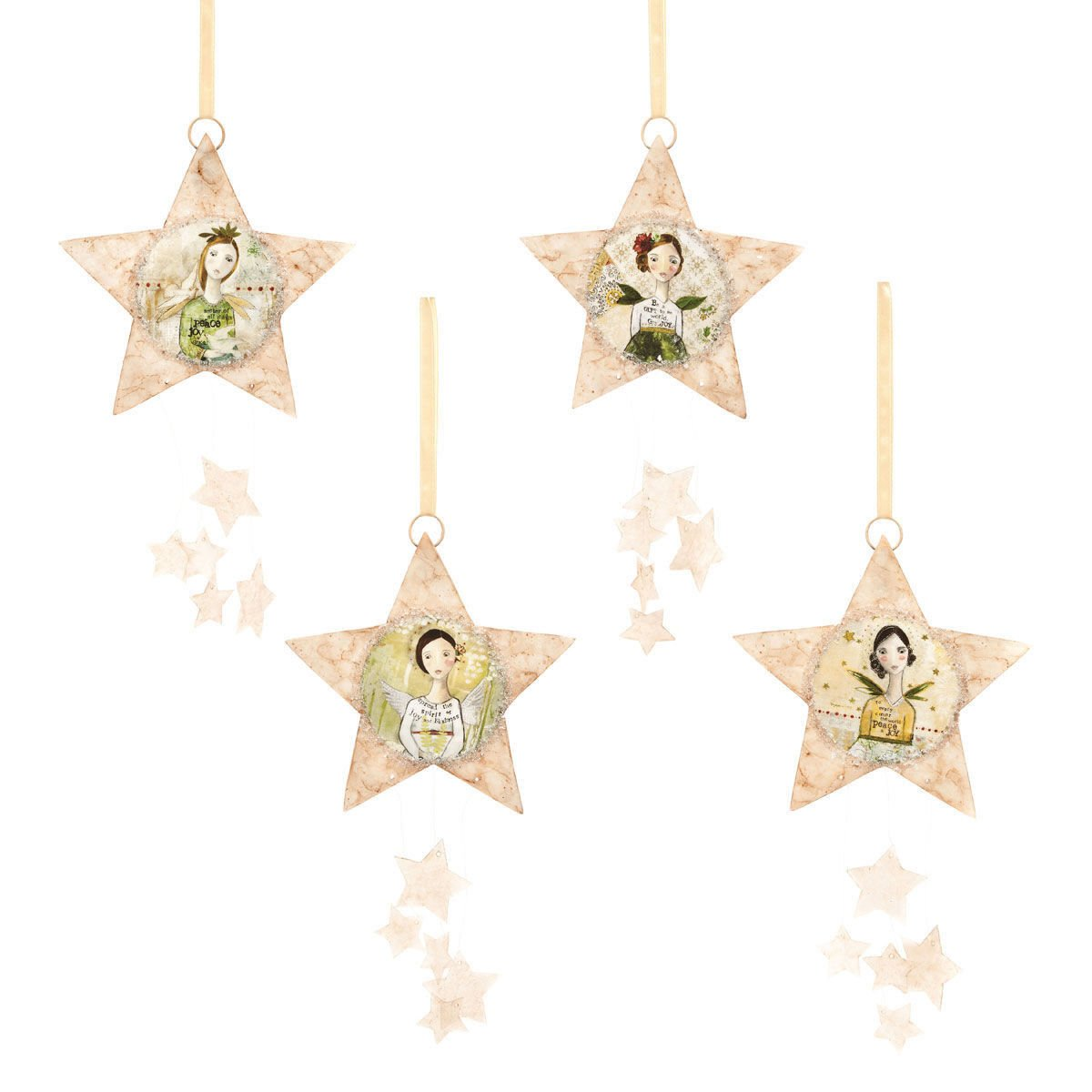 Capiz Star Angel Ornaments  Set Of 4 Beautiful Star Shaped Ornaments, With  Angel Images And Holiday Sentiments