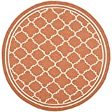 """Safavieh Courtyard Collection CY6918-241 Terracotta and Bone Round Area Rug, 7 feet 10 inches in Diameter (7'10"""" Diameter)"""
