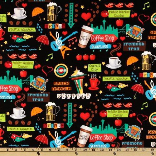 '' Wide Timeless Treasures Seattle Landmarks Black Fabric By The Yard
