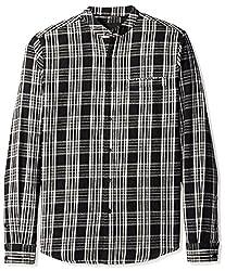 nANA jUDY Men's Plaid Flannel Shirt, Black/White Plaid Tartan, S