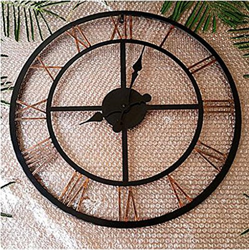 European and American styleEuropean, Roman numerals, large wall clock, American village retro, metal wrought iron frame, do the old hollow, clock, A section, diameter 80CM (Big Wrought Iron Clock compare prices)