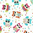 Owl Parade fabric - 100% Cotton Print fabric in turquoise, fuchsia, deep orange, vert anis and graphite grey on a white base cloth - 155 cm (61 inches) | Per half metre increment