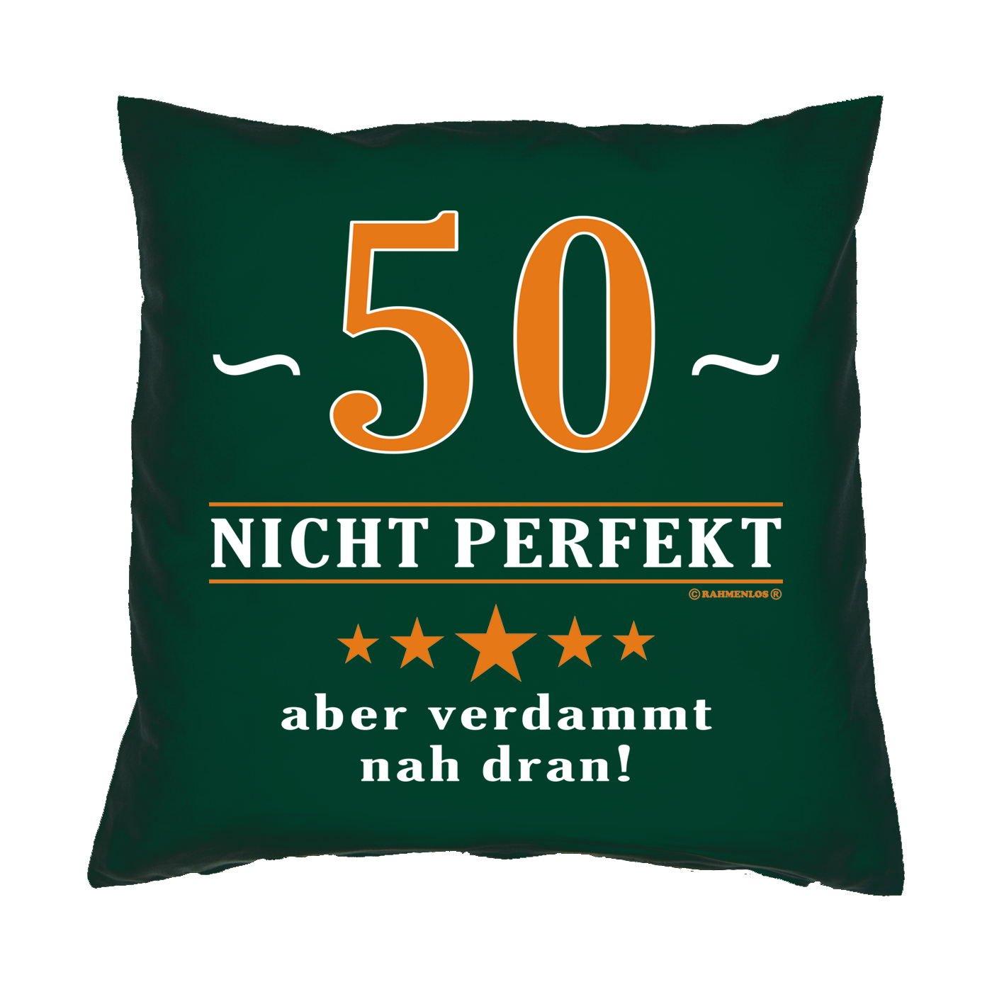 Kissen mit Innenkissen – 50 – nicht perfekt aber verdammt nahe dran! – zum 50. Geburtstag Geschenk – 40 x 40 cm – in dunkel-grün jetzt bestellen