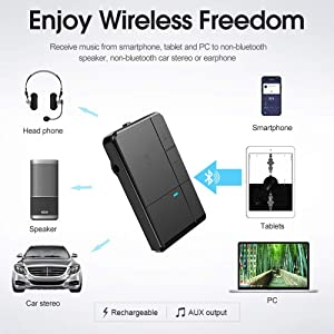 Bluetooth V5.0 Receiver, Streambot Mini Bluetooth Car Aux Adapter / 10Hrs Hands-Free Car Kits / Portable Wireless Music Adapter for Car/Home Audio Stereo System (CSR/HFP/HSP/A2DP/AVRCP/Built-in Mic)