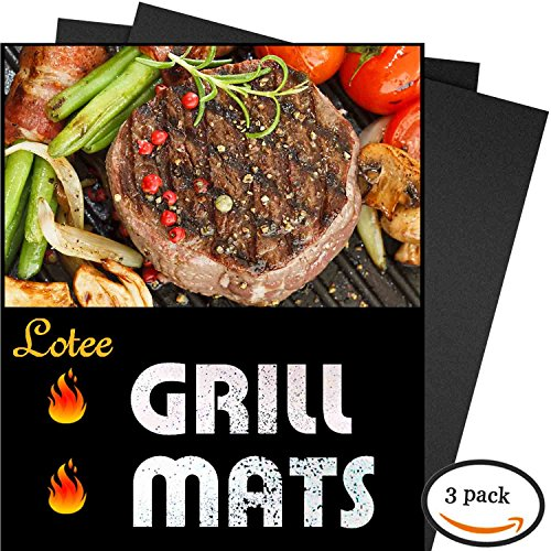 BBQ Grill Mat, Set of 3 - 100% Non-stick Baking Mats - 15.75 x 13 Inch, Works on Gas, Charcoal, Electric Grill and More. (Bbq Mate Grill Set compare prices)