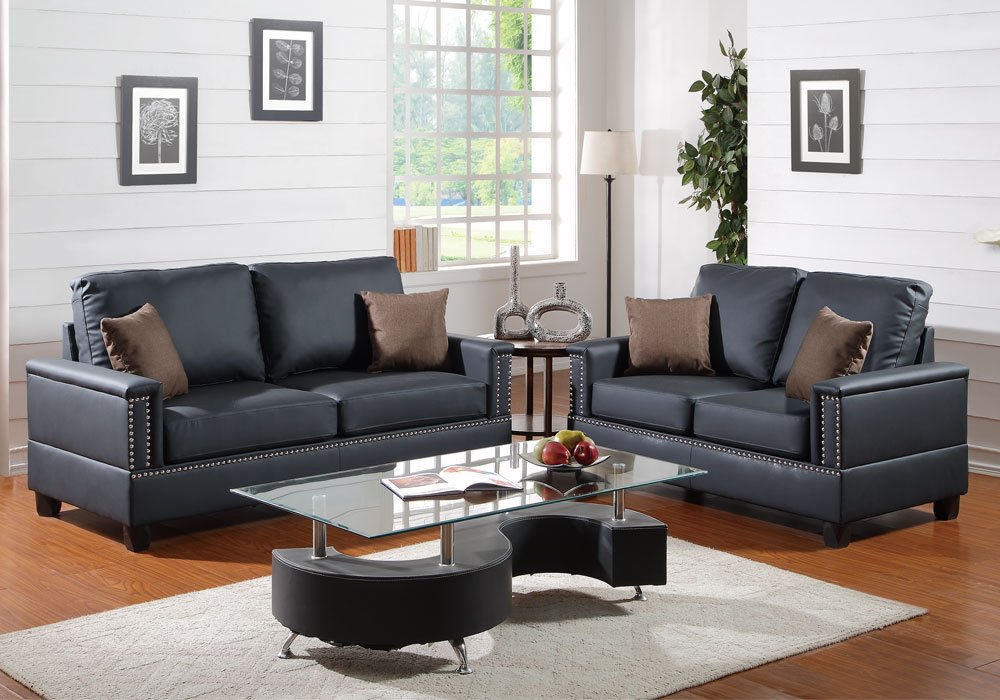 1PerfectChoiceModern 2 Pieces Sofa Set Couch Loveseat Nailhead Trim Arm Black Bonded Leather