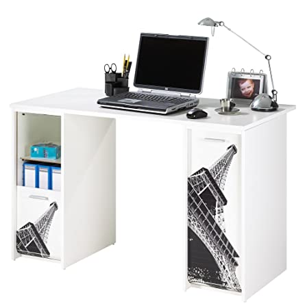 Simmob SCOUT122BL750 Tour Eiffel 750 751 ufficio di 2 alloggiamenti, con tende, stampati in legno, 65 x 120 x 74 cm