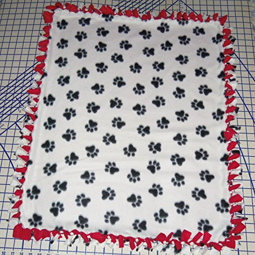 Paw Prints Dog Print Hand Tied Fleece Baby Pet Dog Blankets (White) front-184812