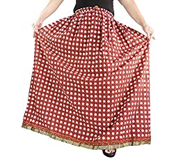 Aura Life Style Cotton Long Skirt(ALSK2140P,Red,Free)